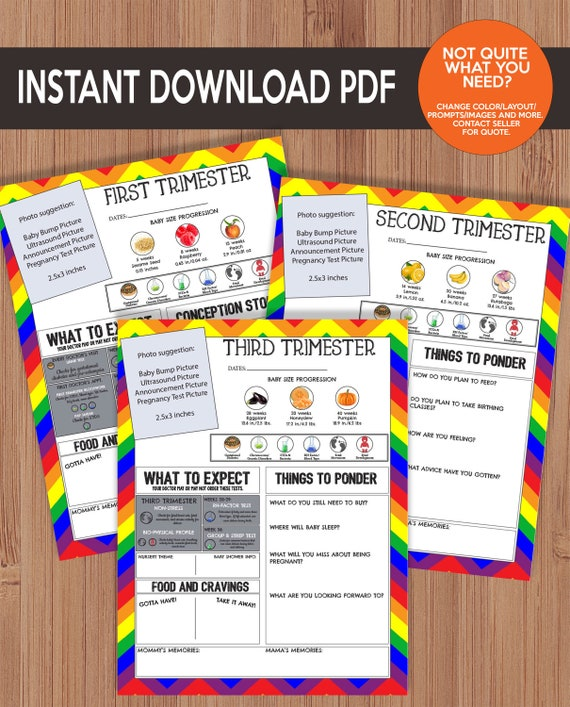 picture about Printable Pregnancy Journal known as Printable Being pregnant Magazine - Rainbow Chevron - LGBT, Similar