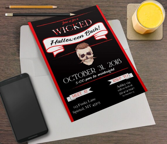 hipster skull printable halloween party invitation red black