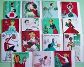 PRE XMAS SALE 1950s Vintage Christmas Cards - Pack 6. Free shipping Worldwide.