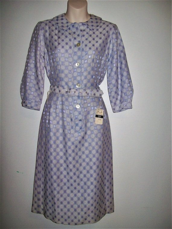 Vintage 1950s Deadstock Lilac Spot Wiggle Dress -