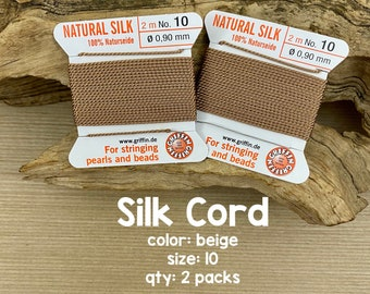 total 4 Meters 157.48 Inch 2 Pkg of Griffin Silk Cord from USA With Needles Attached All Colors /& sizes Made in Germany Ship within 24 Hr