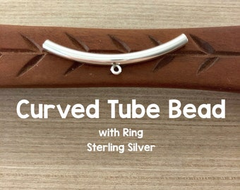 Silver Curved Tubes 38mm Long 3mm bent Tubes Sterling Silver Spacers 10pc