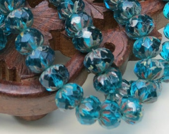 Czech Glass Beads - Aqua Blue - With Picasso - 6x9mm - Faceted Crullers - Czech Glass - 25 Beads