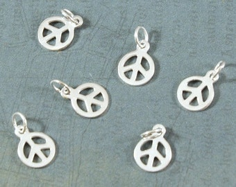 Peace Charm - Sterling Silver - Small Peace Sign - Charm - 8x11mm - Two Pieces