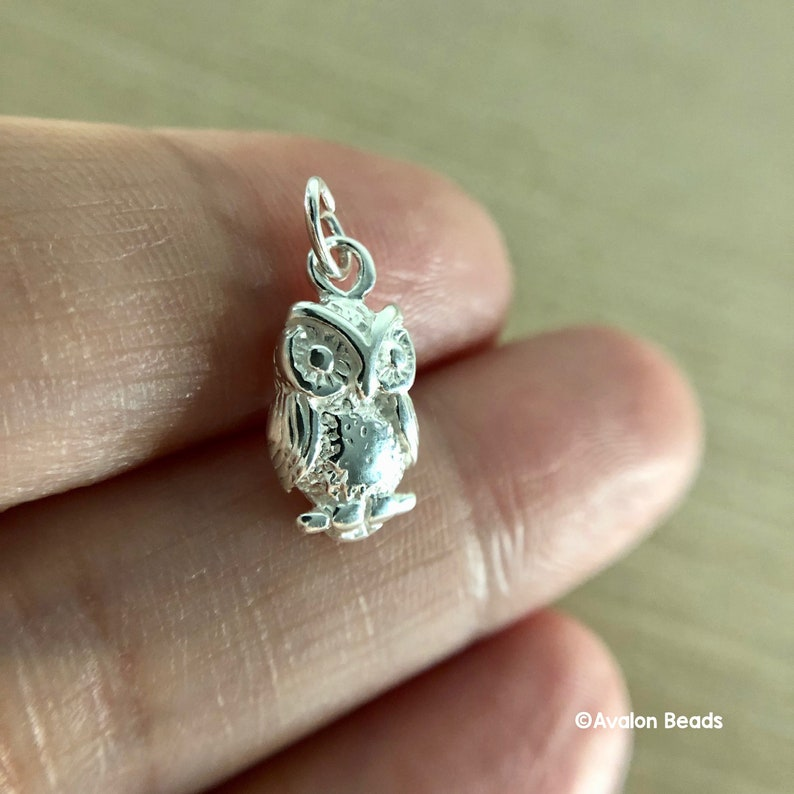 Owl Charm Sterling Silver