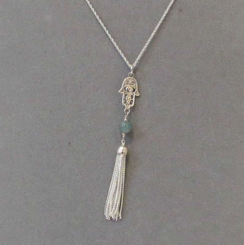 3 Inches Sold Per Piece Apatite Bead With Sterling Hamsa Charm Tassel Pendant- Sterling Silver