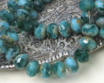 Opaque & Transparent - Aqua and Turquoise - Rondelles - Faceted - 7x5mm - Czech Glass - 25 Beads