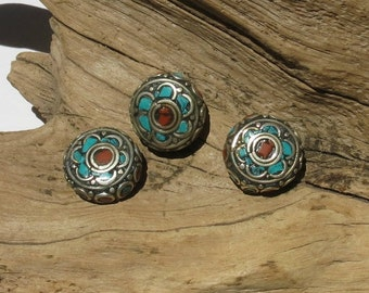 Coral, Turquoise, Silver Inlay - Nepalese Bead - 20mm Round - Sold Individually