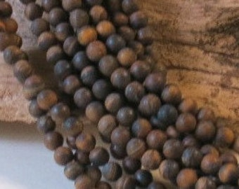 "Matte Tiger Eye - 8mm Round - 15 1/2"" Inch Strand of 47 Beads"