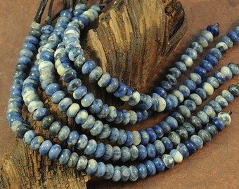 Blue Sodalite LARGE HOLE beads - 5x8mm rondelle beads- 8 inch strand - 2.5mm Hole