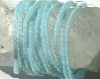 Aqua Quartz - 3mm - Czech Glass Fire Polished Crystal - Faceted Round - 50 Beads