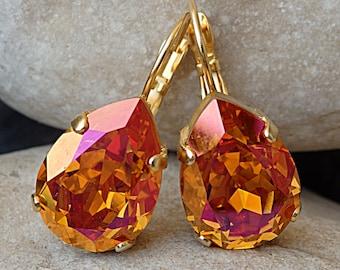 Orange jewelry, Teardrop Earrings, Clementine Earrings, Tangerine Earrings. Swarovski crystal earrings. Neon earrings. Bridesmaid jewelry .