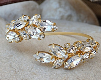 Bridal Wedding Bracelet, Bridal Crystal Cuff, Swarovski Crystal Bracelet, Bridesmaids Jewelry, Open Cuff Bracelet, Upper Arm Cuff Bracelet
