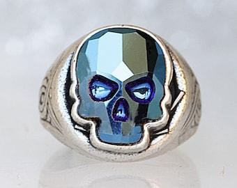 Black Swarovski Crystal Skull Crown D/ía de Muertos Day of Dead Cocktail Ring