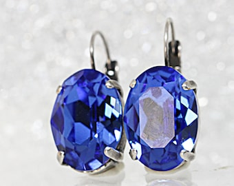 Sapphire Crystal Earrings, Blue Simple Earrings, Blue Swarovski Earrings, Blue Bridal Earrings, Blue Sapphire Earrings, Blue Oval Earrings