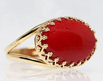 Red Gemstone Ring, Coral Ring, Coral Statement Ring, Engagement Ring, Genuine Coral ring, Women's Ring, Fashion Ring, Precious Stone Ring