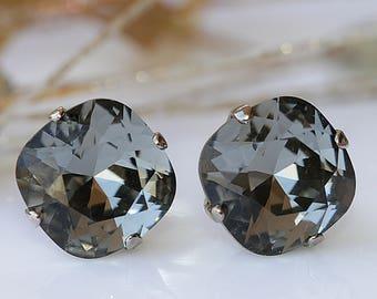 b33a8abb3 GRAY EARRINGS, Stud Earrings, Black Diamond Studs, Swarovski Crystal Post  Earring, Dark Grey Earrings, Square Earrings, Grey Bridal Earrings