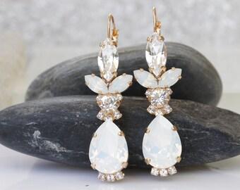 White Opal Glass Drop Earrings Crystal Clear Milky Teardrop Earrings Modern Earrings Minimalist White Wedding Bridal Bridesmaid Gift for Her