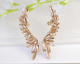 Rose Gold EAR CLIMBER EARRINGS, Topaz Ear crawler Earrings, Bridal Ear climbing Earrings,  Ear Crawlers, Statement Wedding Earrings
