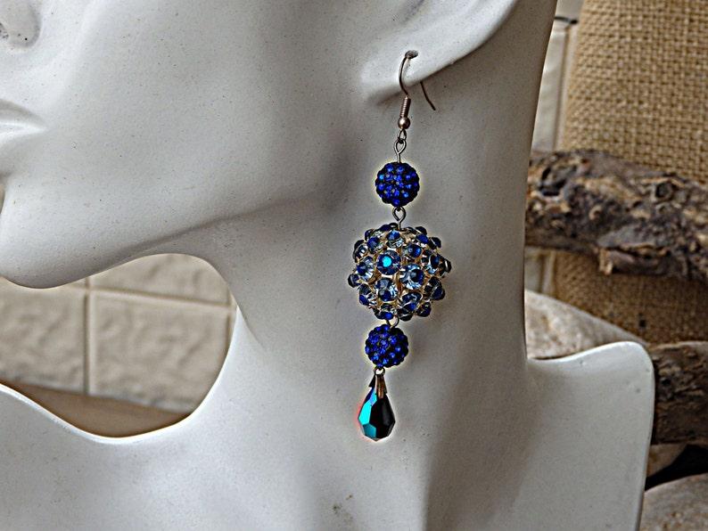 f9b291301 Royal Blue Earrings Blue Swarovski Crystal Earrings Balls | Etsy