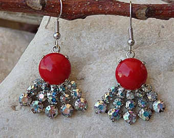 Coral earrings. Red coral silver earrings. Fan swarovski earrings. Bridesmaid  jewelry. Natural gemstone jewelry.Mother sister daughter gift