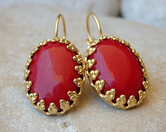 Coral Drop earrings. Red earrings. Vintage style earrings . Bridesmaid jewelry gift. Natural gemstone jewelry. Gold red coral earrings