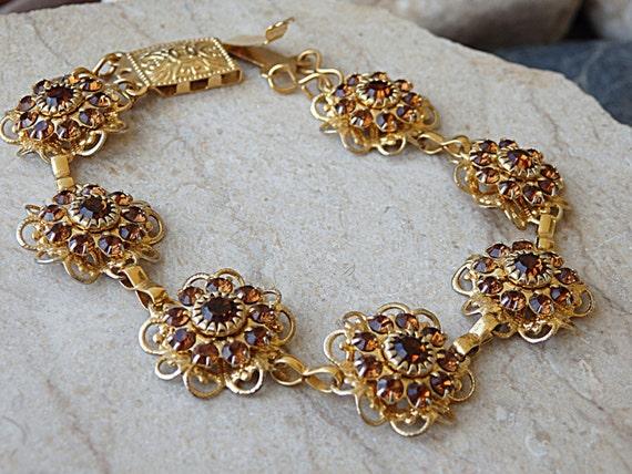 Gold Flowers Bracelet Swarovski Bracelet Flower Brown  8d53157afb10