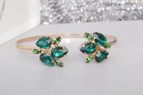 EMERALD BRACELET Rose Gold Braclet Swarovski Bracelet  3d985ba47a