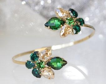 EMERALD SWAROVSKI BRACELET, Green Gold Bracelet, Bridal Bracelet, Champagne Emerald Bangle,Evening Elegant Jewelry,Swarovski Trendy Bracelet