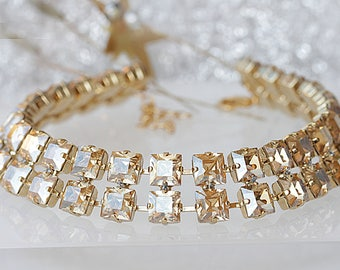 COLLAR NECKLACE, Choker Necklaces, Evening Swarovski Champagne, Bridesmaid Collar Necklace, Rhinestone Choker, Bridal Choker,Golden Necklace