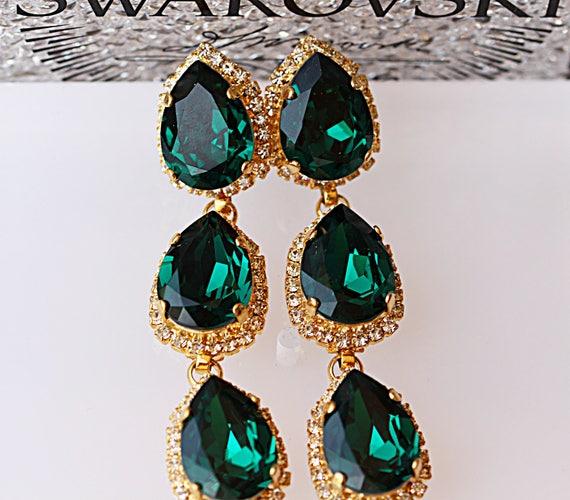 brede selectie website voor korting klassieke schoenen Emerald bruiloft oorbellen, Angelina Jolie Emerald oorbellen, Emerald  bruidsmeisje oorbellen, verklaring oorbellen Emerald, Swarovski groene Prom  ...