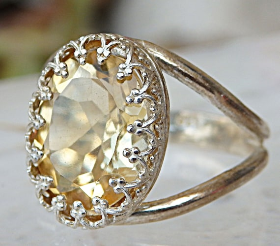 Sterling Silver Ring with Citrine Big Stone Ring Yellow Stone Ring Natural Citrine Ring Large Yellow Stone Statement Ring