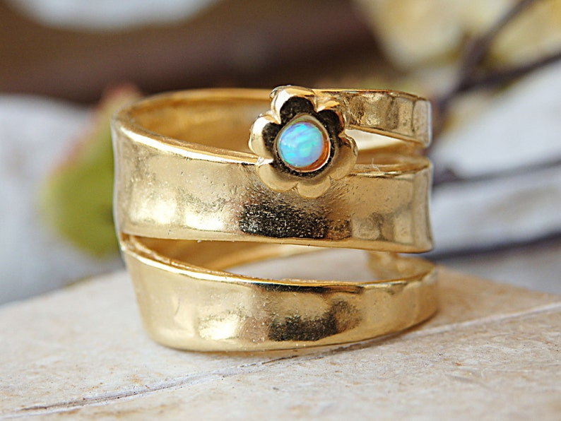 Warp ring Flower ring Gemstone ring for woman Bypass ring Gold ring Chunky ring Blue opal ring Large ring Lovely birthstone ring