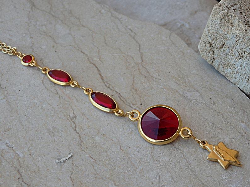 83327e56b07ef Star of David pendant necklace. Jewish jewelry. Red swarovski long pendant.  Map of Israel necklace. Holy land necklace, Judaism Jewelry.