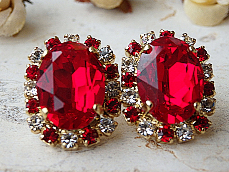 1a5ebd321 Red Earrings Romantic jewelry Red Stud Earrings Red crystal | Etsy
