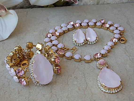 Bridal Jewellery Set,Pink Jewelry Set,Wedding Jewelry Set,Bridal Earrings,Bridal Necklace,Bridal Bracelet,Personalized Gift!
