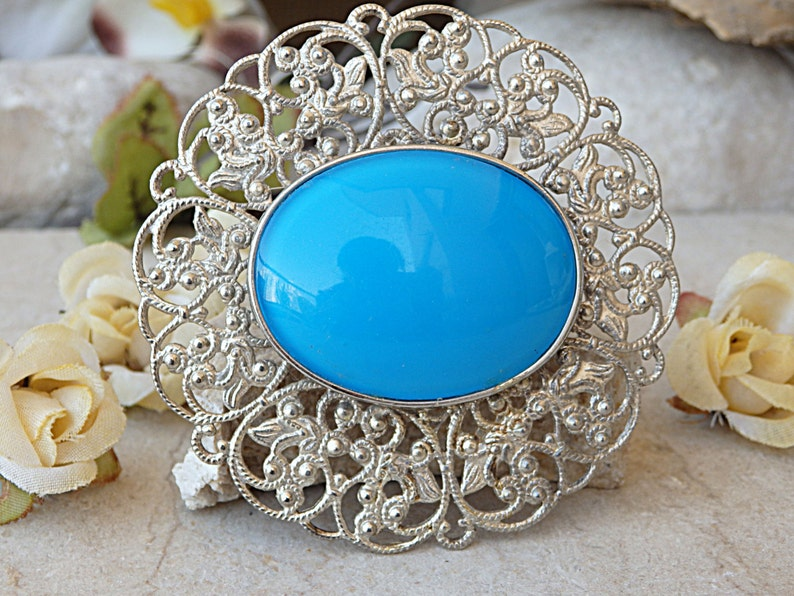 Safety Pin Brooch SILVER BLUE BROOCH Large Oval Brooch Sky Blue Brooch Boho Brooch Acrylic Stone Brooch Statement Brooch Lace Brooch