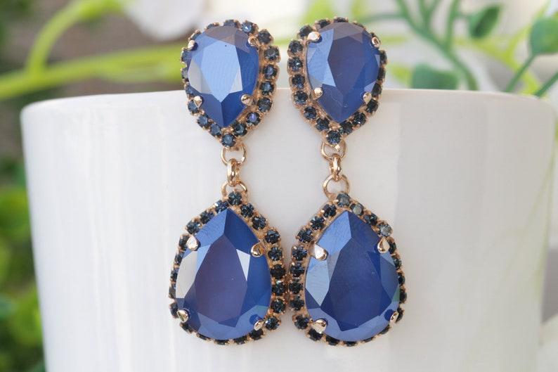 d9bec6da7 ROYAL BLUE EARRINGS Bridal Dark Blue Earrings Cobalt Blue   Etsy