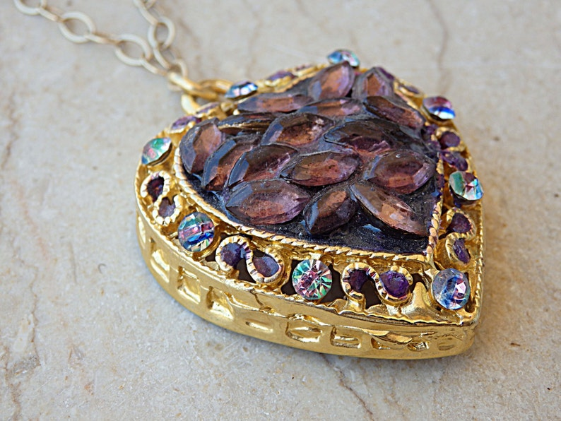 Heart shaped necklace Dye jewelry Purple Amethyst necklace.Mother day jewelry Gold Heart Necklace Mom Gift Idea Hand painted pendant