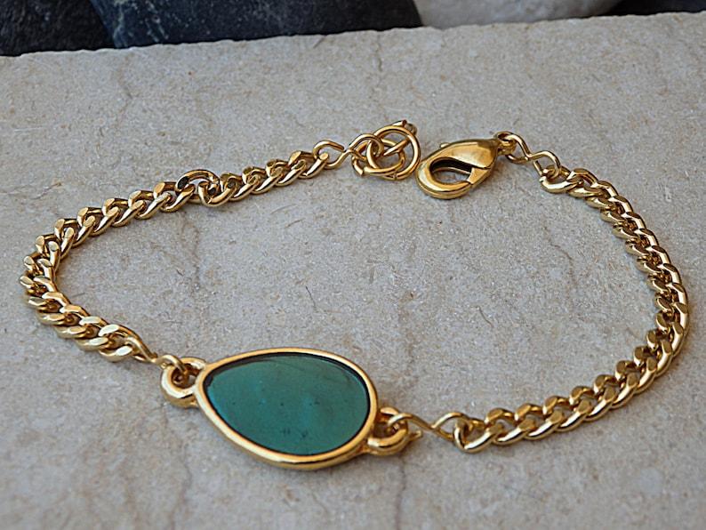 Turquoise Gold Bracelet Gold bracelet.turquoise bracelet Dainty Modern Everyday Jewelry. Turquoise enamel bracelet Link /& Chain bracelet