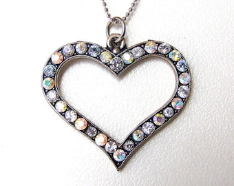Heart shaped necklace. Swarovski crystal pendant necklace. Wedding jewelry. Wife's necklace gift.  Love jewelry. Silver Heart Necklace