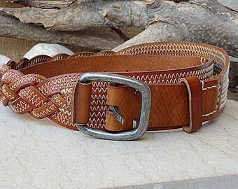 Braided belt. Brown leather belt. Buckle belt for men women. White stitching belt. Jeans belt. Braid belt. Cognac color leather belt for him