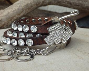 Skinny Leather belt. Crystal swarovski belt. Black leather belt. Thin leather belt. Women leather belt. Narrow leather belt. Adjustable belt