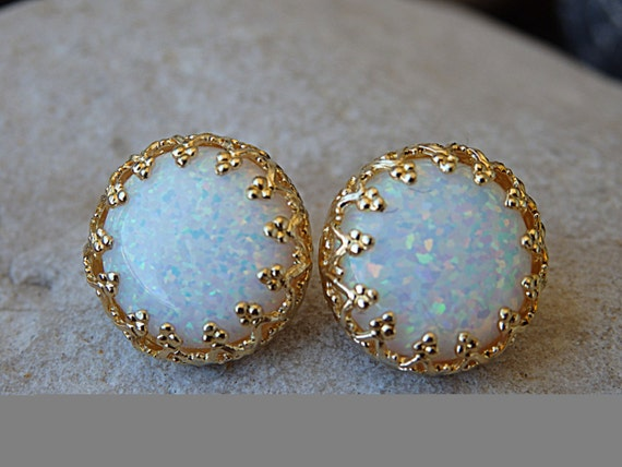 White Opal Earrings 14K Gold Filled Jewelry Birthstone October