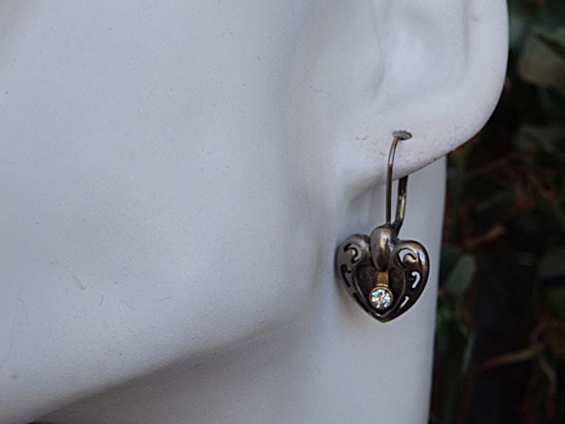 Romantic jewelry Bohemian crystal earrings Antique silver and brass earrings eternity earrings Valentine earrings Silver heart earrings