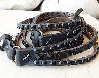Studded belt, Gothic leather belt, Silver metal belt, Black leather belt, Multi layered leather belt for women thin belt, Metal buckle belt