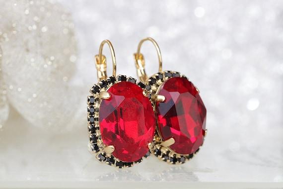 Ruby Red Drop Earrings