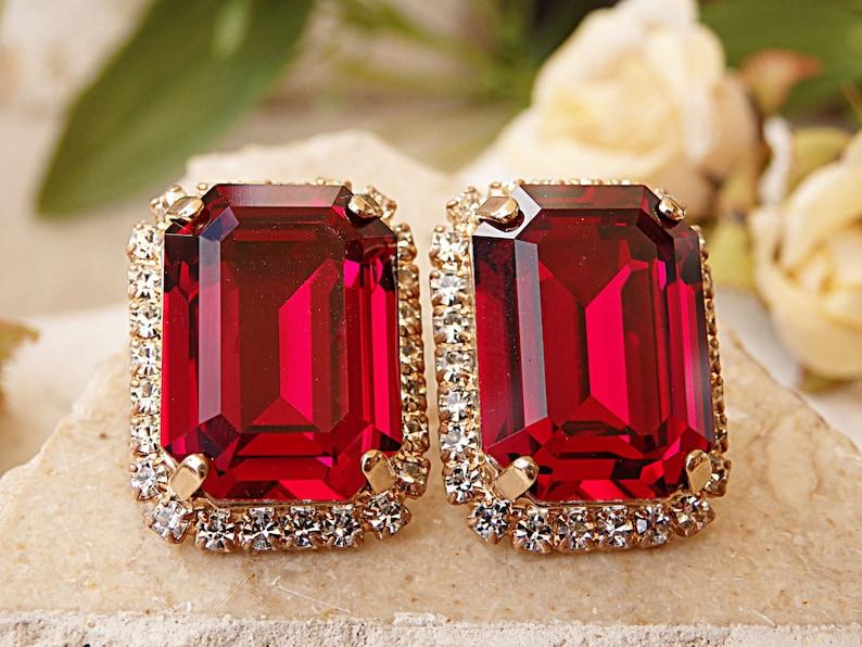 87d0917b9 Ruby earrings. Red stud earrings. Big stud earrings. | Etsy