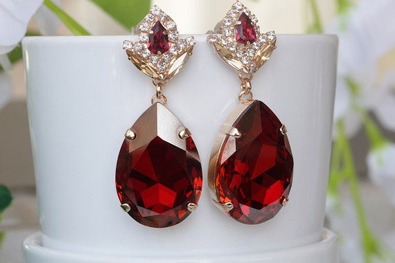 Antique Gold Faux Ruby And Pearl Round Earrings,Red Chakra Earrings,Ruby Bridal Earrings,Long Red Earrings,Gift For Her,Padmavati Earrings