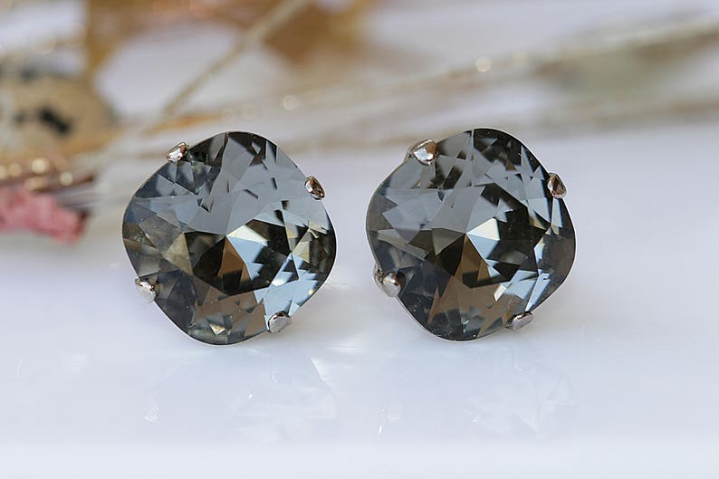 cb61c9726 GRAY EARRINGS Stud Earrings Black Diamond Studs Swarovski | Etsy